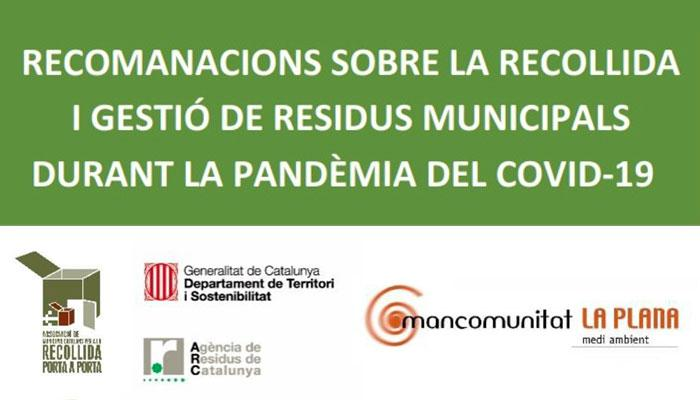 Viladrau Recomanacions sobre la recollida i gestió de residus municipals durant la pandèmia del covid