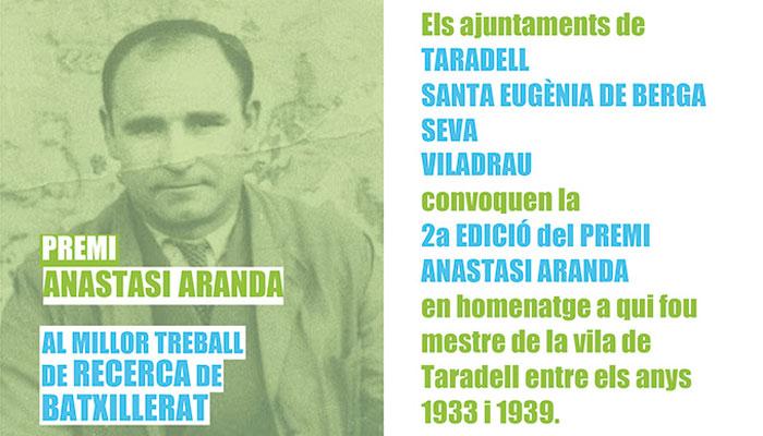 Viladrau 2on Premi Anastasi Aranda al millor treball de Recerca de Batxillerat